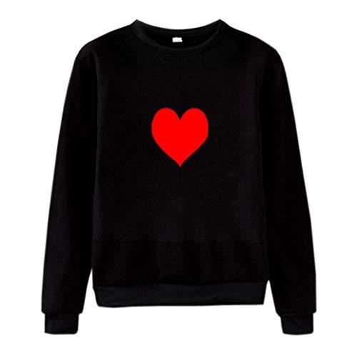 ALLYOUNG Tops Blouse Unisex Men Women Casual Long Sleeve O-Neck Heart Printed Sweatshirt Pullover (Black A, XL)