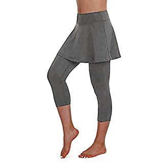 FONMA Women's Casual Skirt Leggings Tennis Sports Fitness Cropped Culottes Pants Gray