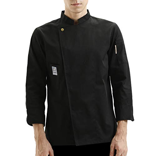 TESIMEI Chef Coat Jacket Works Long Sleeve Single-Breasted Men Black (Label:3XL - US:XL) (Black Label Coat)