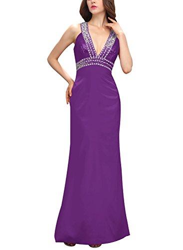 Bbonlinedress Vestido De Gala Largo De Satén Con Lentejuelas Para Fiesta Violeta