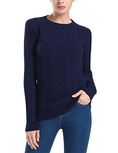 Rocorose Women's Knitted Sweater Long Sleeve Crew Neck Pullover Navy ()
