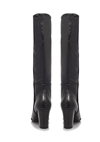 High Jet Kurt Nine Black Boots Black Women's Classic Heel Leather Leg Gieger Pip West nRxCqw6