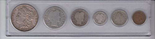 6 Vintage Coins- Morgan Silver Dollar, Barber Half Dollar, Barber Quarter, Barber dime, Liberty Nickel, and Indian Cent--Dates Will Varie-- 4 Are Silver- Antique- Over 100 Years old-