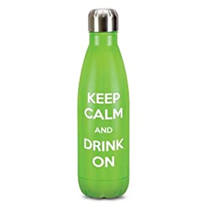 Stainless Steel Double Wall Vacuum Insulated Water Bottle – 500 ML Reusable Water Bottle with Keep Calm & Drink On Slogan – Non-toxic & Sturdy Build – High Corrosion Resistance (Green, 17 oz)