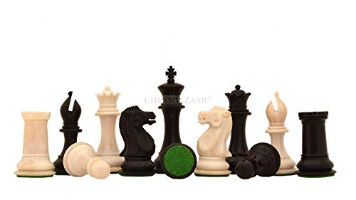 (Reproduced 1849 Staunton Pattern Camel Bone Chess Set in Black Dyed & Bleached White - 3.6