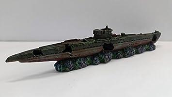 Adorno para acuario grande SUBMARINO para tanque de peces Barco de guerra Decoración 51 cm de