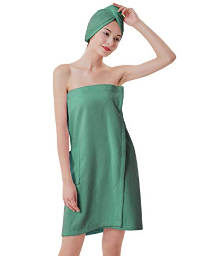 Women's Body Wrap Towel with Adjustable Closure Spa Wrap Set Light Green M