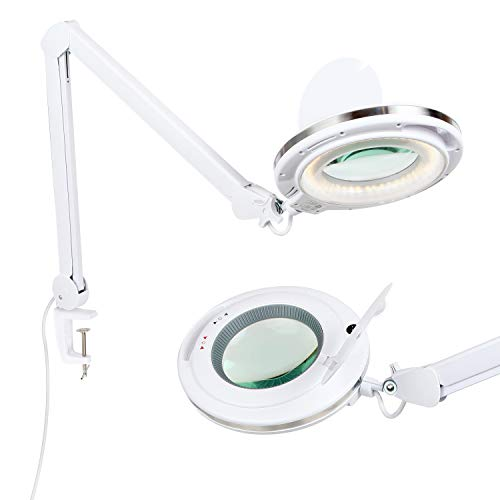 (Brightech LightView PRO LED 2.25x Magnifying Glass Clamp Lamp: Daylight Bright Lighted Lens - Dimmable, Adjustable Color Temperature Utility Light for Desk, Table, Task, Craft, Workbench -White)