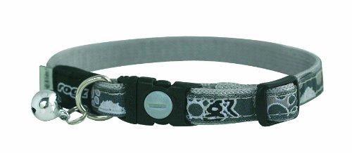 ROGZ Catz Fancy Cat Safeloc Breakaway Clip Adjustable Cat Collar, Small .375-Inches, Black Paws Design