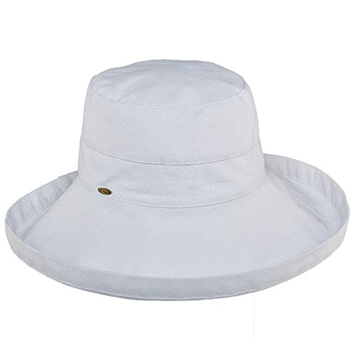 Scala Women's Cotton Hat with Inner Drawstring and Upf 50+ Rating,White,One Size from SCALA
