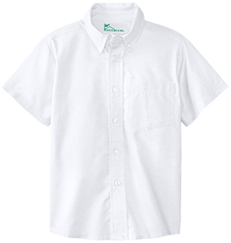 CLASSROOM Little Boys' Short Sleeve Oxford Shirt, White, 5 by Classroom Uniforms
