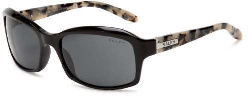 Ralph by Ralph Lauren Women's 0RA5137 964/87 Rectangular Sunglasses,Black Marble Frame/Grey Lens,58 mm