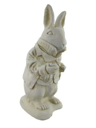 (Things2Die4 Alice in Wonderland White Rabbit Garden Statue Museum White-Resin)
