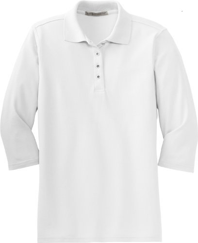 Port Authority Women's Silk Touch 3/4, Sleeve Sport Shirt, white, X-Large