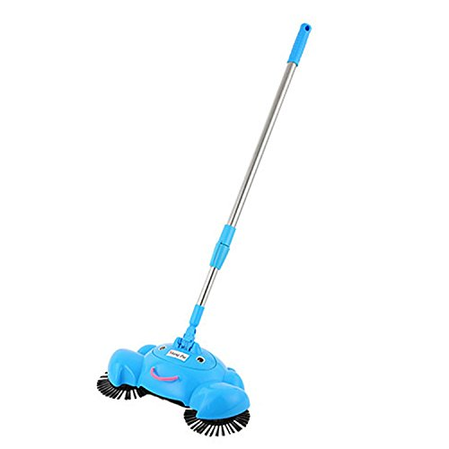 Challyhope Household Broom 360 Rotary Home Use Magic Manual Telescopic Floor Dust Sweeper For Bathroom, Office, Kitchen, House Polishing Cleaning (Blue, 44.1x11.8x7.5