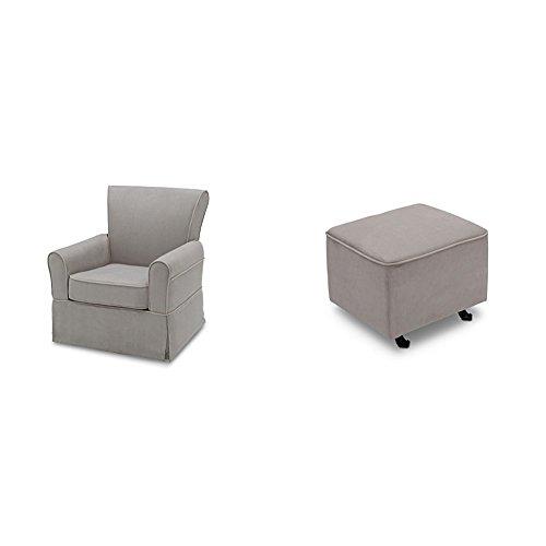 Delta Furniture Benbridge Glider Swivel Rocker Chair with Gliding Ottoman, Dove Grey with Soft Grey Welt by Delta Furniture