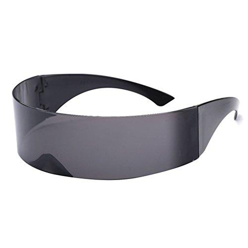 Futuristic Cyclops Monoblock Shield Mirrored Sunglasses (Black, ()