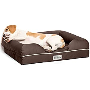 PetFusion Ultimate Solid 10cm WATERPROOF Memory Foam Dog Bed for Medium & Large Dogs (91x71x23cm orthopedic dog mattress; Chocolate). Replacement covers & blankets also avail 8