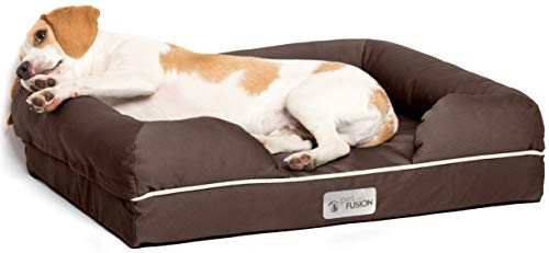 PetFusion Small Pet Bed w/ Solid 2.5″ Memory Foam, Waterproof liner, YKK premium zippers. [Chocolate Brown, 25x20x5.5″; dog beds furniture also for cats]