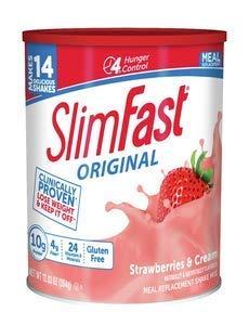 Slim Fast Original Strawberries and Cream Shake Mix, 15 Ounce - 3 per case.