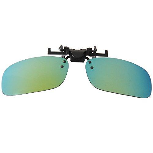 de Sol Deporte al Gafas Libre Men Mujeres Sunglasses Lens Up Clip verde Driving Rectángulo Flip en LianSan LSP101 Mirrored Polarizadas Aire 78q40PA0