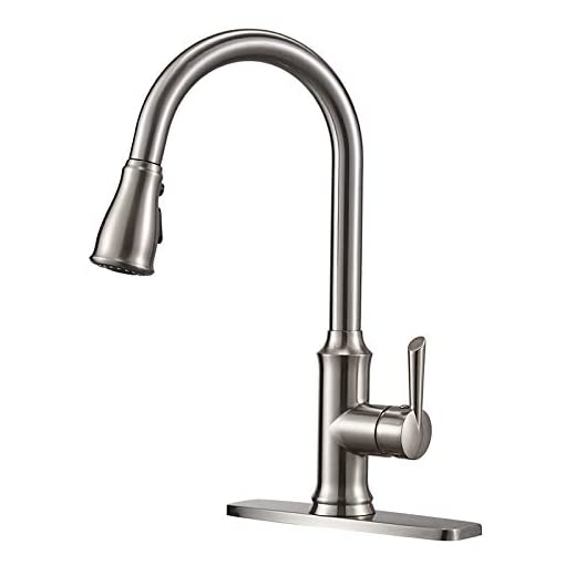 Kitchen Kitchen Sink Faucet, Peppermint 3 Hole Faucet for Kitchen Sink with Pull Down Sprayer Fingerprint Resistant Single… modern sink faucets