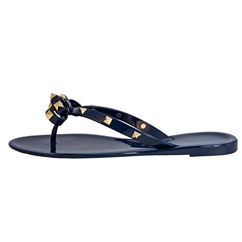 Studded Bow Jelly Thong Sandals Valencia Rock Rivets Women's Flip Flop Summer Beach Rain Shoes (8 US, Navy Blue)