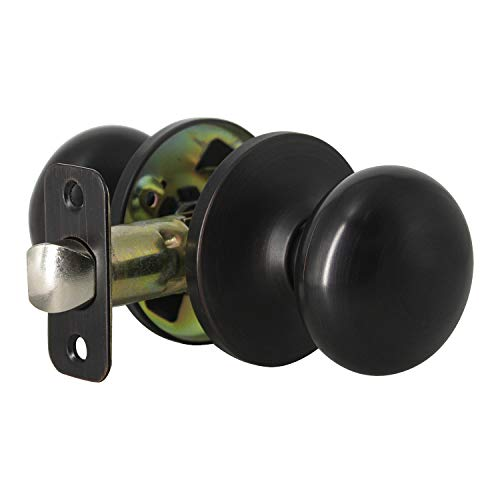 Pro-Grade Classic Passage Hallway Closet Door Knobs, Oil Rubbed Bronze, Knob for Interior Hallway and Closets Black/White/Wooden Door