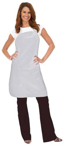 Betty Dain Luminous Apron  Hidden Zippered Pockets  Adjustable Neck Closure  White