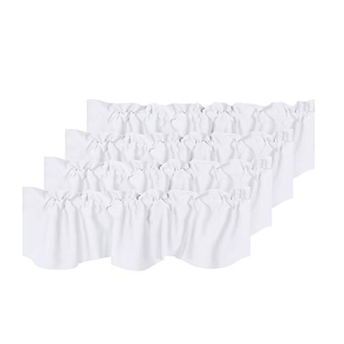 H.VERSAILTEX Privacy Protection Kitchen Valances for Windows Room Darkening Curtain Valances for Bedroom, Rod Pocket Top, 4 Pack, Pure White, 52 x 18 Inch by H.VERSAILTEX (Image #8)'