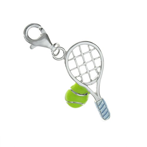 Ball Charm Tennis Italian - 925 Sterling Silver Tennis Racket Ball Blue Green Enamel Dangle European Lobster Clip On Charm