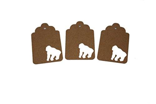 Gorilla Gift Tags, Animal Party Supplies, Zoo Animal Theme, Jungle Theme, Gorilla Decorations (Tags Zoo)