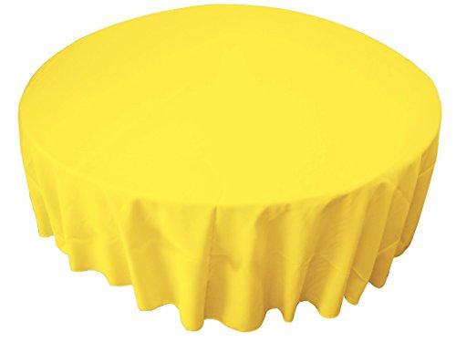 "LA Linen Polyester Poplin 72"" Round Tablecloth, Yellow Light"