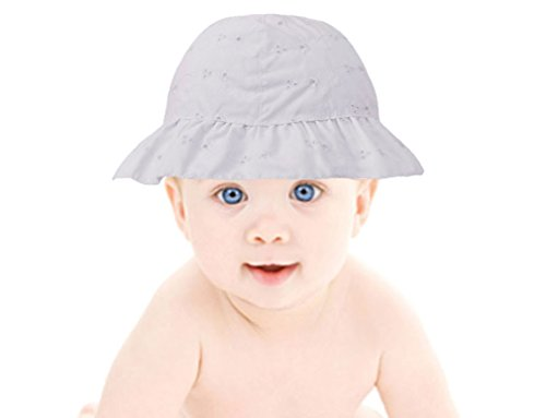 Baby Summer Floral Embroidered UPF 50+ UV Protection Sun Hat,White,0-12 Months