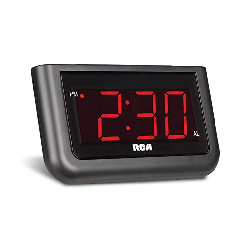 "RCA Digital Alarm Clock - Large 1.4"" LED Display with Brightness Control and Repeating Snooze, AC Powered –  Compact, Reliable, Easy to Use"