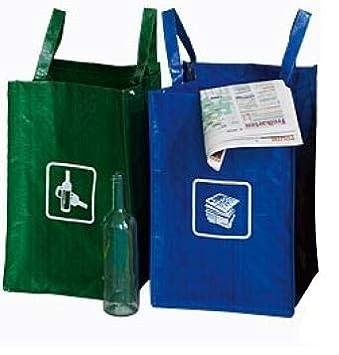 2 Mull Sortiertaschen Recycling Tasche Gewebetaschen Abfallsammler