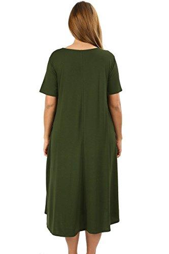 Line A Pocket 1X Short Plus Flowy Midi Maxi Olive 4X Dress Modern Women's Size Kiwi Sleeve zw8x00BUq