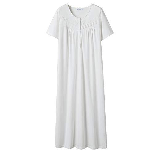 Keyocean Nightgowns for Women All Cotton Short Sleeve Long Nightgowns Soft Lightweight Sleepwear, Cream