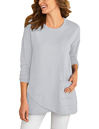GRAPENT Women's Long Sleeve Casual Solid Tulip Hem Scoop Round Neck Pocket Tunic Top Shirt Blouse Tee Grey, Size L(US 12-14)