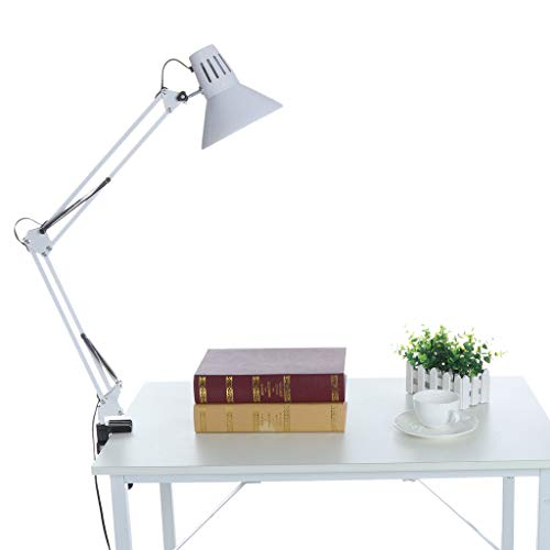 7W Dimmable LED Desk Lamp, Puyujin Flexible Gooseneck Clip on Light with 3-Level Dimmer, Touch-Sensitive Control Panel, Clip on Lamp for Desk, Bed Headboard and Computers (White) ()