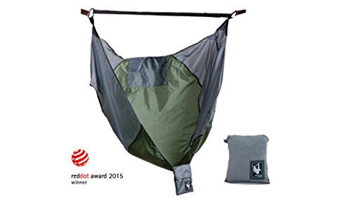 Portable Lightweight Backpacking Chair Hammock (only 9 oz) by CHAMMOCK- Perfect Gift for Outdoor Lover! Tree Straps sold separately