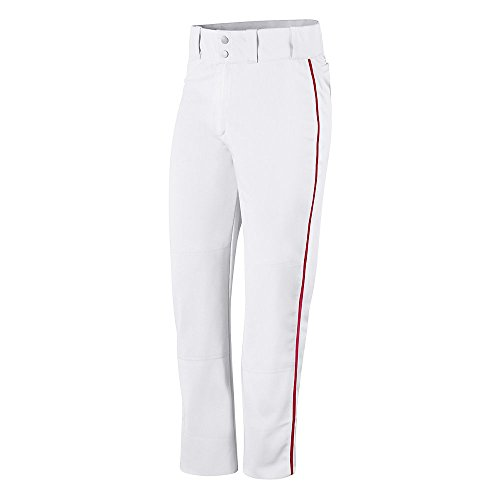 Champion Mens and Youth Prospect Baseball Open Bottom Pant # BS65 White/scarlet
