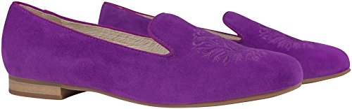 Goat Leather Emblem With Alessia Trotteur Loafer Purple Suede Slipper Iris Embroidered Embellished wF4qFzH