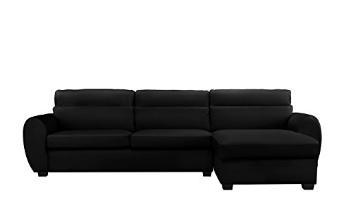 Modern Bonded Leather Sectional Sofa, Large Living Room L Shape Couch (Black)
