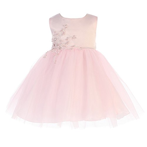 Tip Top Kids Baby Girls Pink Satin Embroidered Applique Tulle Flower Girl Dress 12M