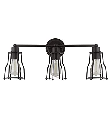 """JONATHAN Y JYL7421A Florence 24"""" 3-Light Metal Vanity, Oil Rubbed Bronze"""