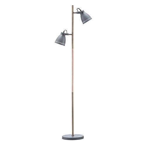Light Society Tasman Floor Lamp, Sand Textured Gray with Antique Brass and Wood Finished Body, Mid Century Modern Industrial Style (LS-F203-GRY) ()