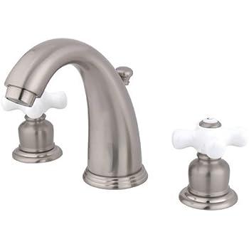 Kingston Brass Kb981px Victorian Widespread Lavatory Faucet Porcelain Cross Handle Polished