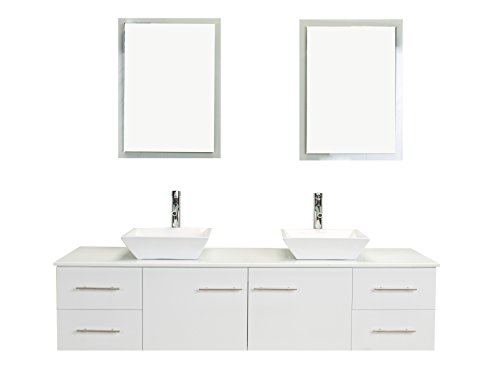 Eviva EVVN147-60WH Totti Wave 60 inch White Modern Bathroom Vanity with Counter-Top and Double Sinks Combination 60