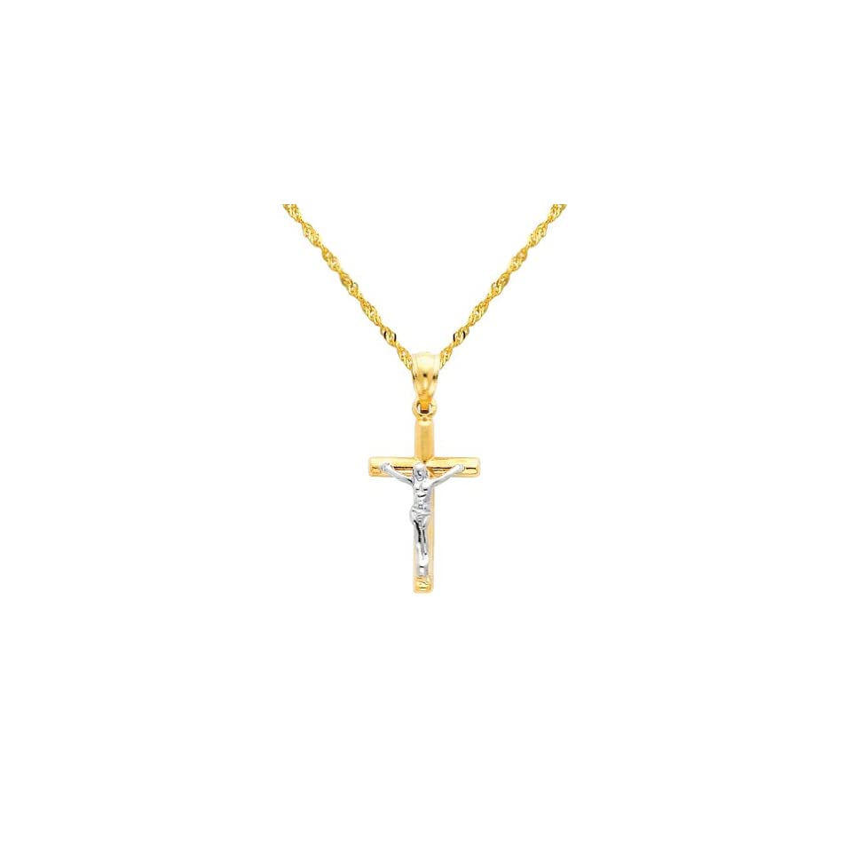 14K Yellow and White 2 Two Tone Gold Jesus Cross Religious Charm Pendant with Yellow Gold 1.2mm Singapore Chain with Spring Ring Clasp   Pendant Necklace Combination (Different Chain Lengths Available)